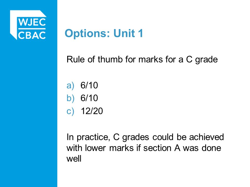 Options: Unit 1 Rule of thumb for marks for a C grade a)6/10 b)6/10 c)12/20 In practice, C grades could be achieved with lower marks if section A was done well