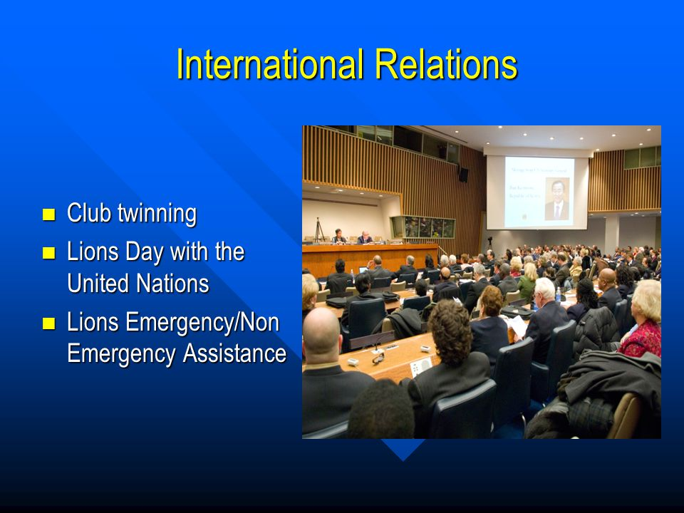 International Relations International Relations Club twinning Club twinning Lions Day with the United Nations Lions Day with the United Nations Lions Emergency/Non Emergency Assistance Lions Emergency/Non Emergency Assistance