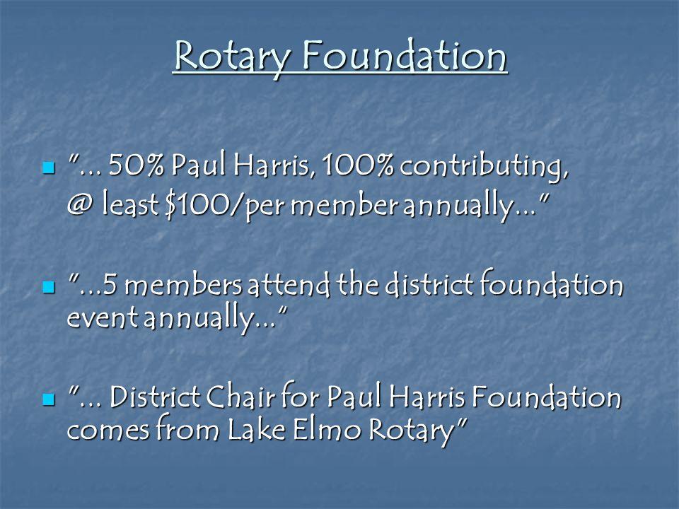 Rotary Foundation ... 50% Paul Harris, 100% contributing, ...