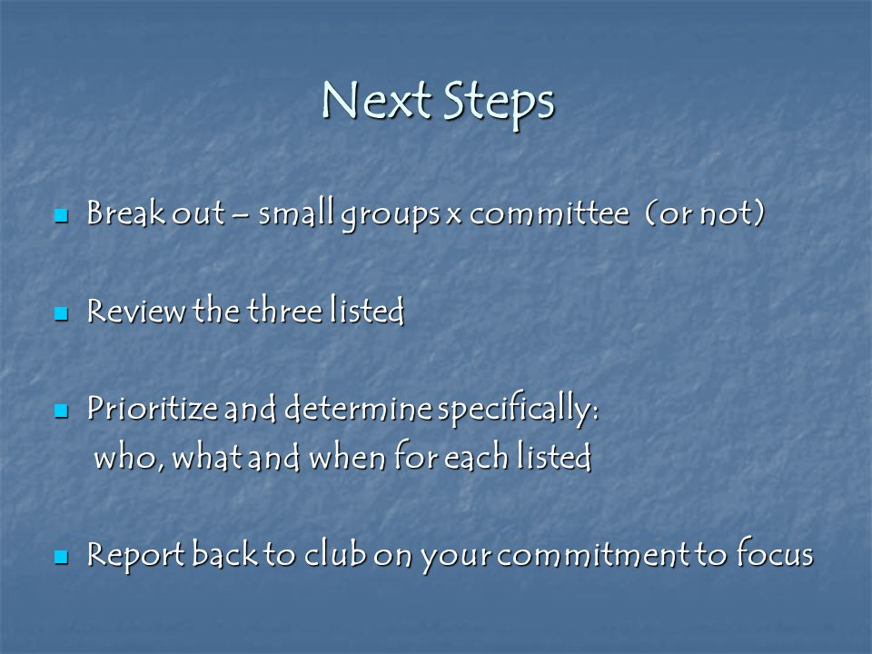 Next Steps Break out – small groups x committee (or not) Break out – small groups x committee (or not) Review the three listed Review the three listed