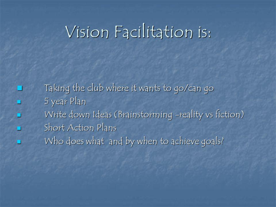 Vision Facilitation is: Taking the club where it wants to go/can go Taking the club where it wants to go/can go 5 year Plan 5 year Plan Write down Ide