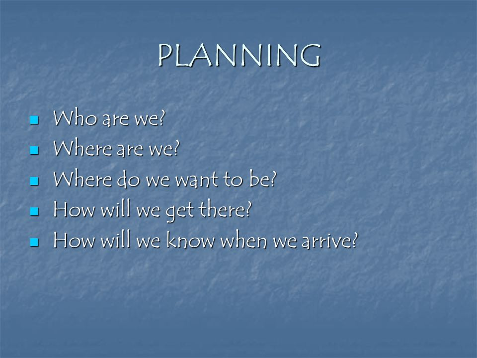 PLANNING Who are we? Who are we? Where are we? Where are we? Where do we want to be? Where do we want to be? How will we get there? How will we get th