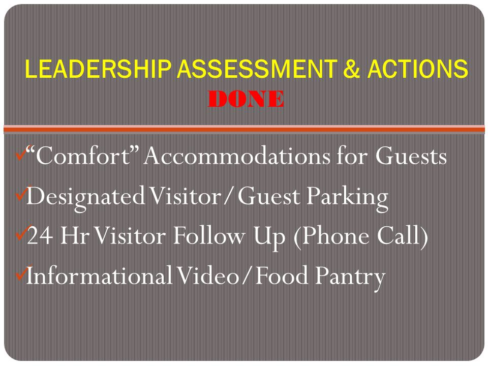 LEADERSHIP ASSESSMENT & ACTIONS DONE Comfort Accommodations for Guests Designated Visitor/Guest Parking 24 Hr Visitor Follow Up (Phone Call) Informational Video/Food Pantry