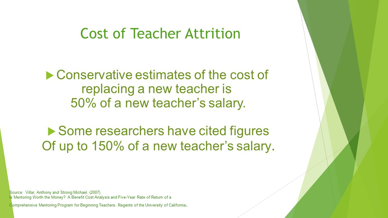  Conservative estimates of the cost of replacing a new teacher is 50% of a new teacher's salary.
