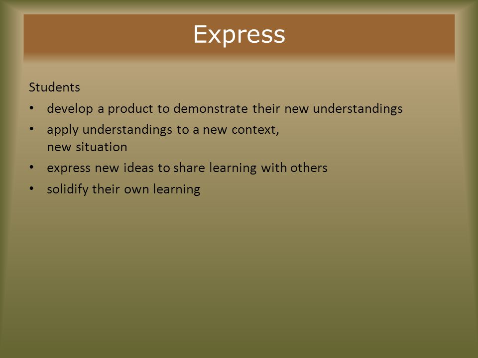 Express Selecting Primary SourcesSkills and Strategies to Teach Cautions to Consider Find primary sources that:Show students how to:Be aware that: Represent a variety of formats, if appropriate Include authentic examples* of product creating products (especially those the format that students are expected to produce Connect to the types of communication that students recognize & relate to Think creatively to generate an original approach to develop a final product Employ writing, speaking, and visualizing skills appropriate for developing an inquiry- based product Use technology to create a final product Research has shown that students must be taught the skills needed for creating products (especially those involving technology) or they will ignore content learning and focus on production only
