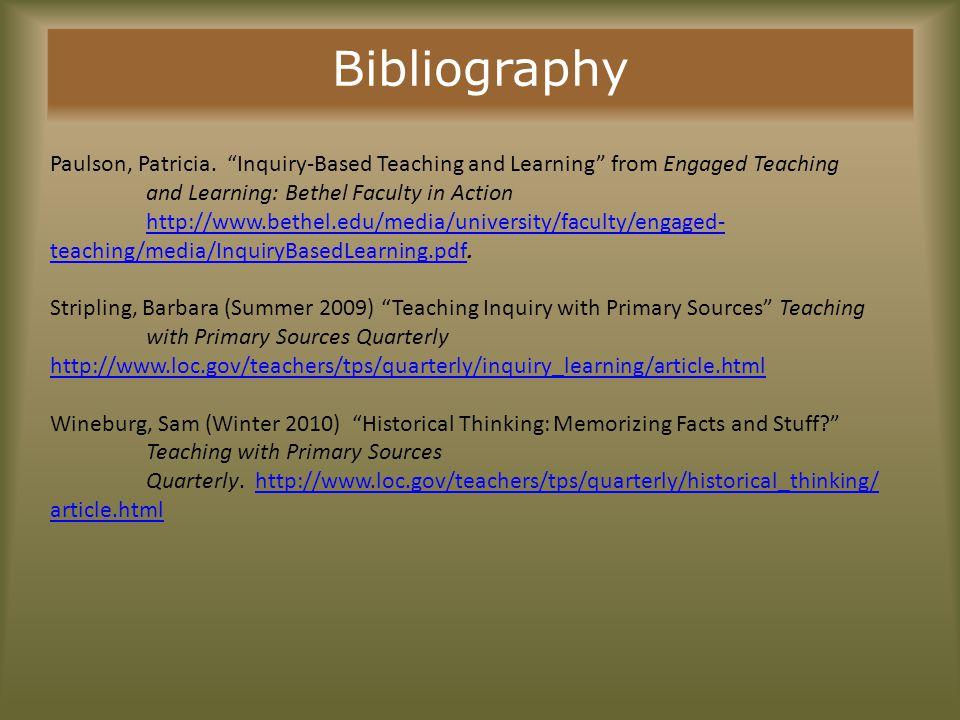 Bibliography Paulson, Patricia.