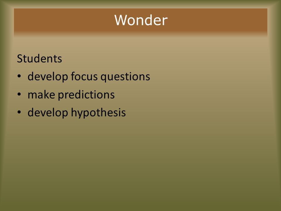 Wonder Students develop focus questions make predictions develop hypothesis