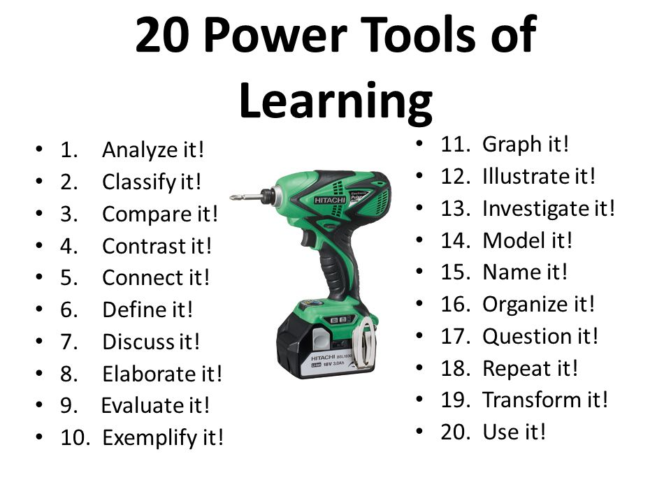 20 Power Tools of Learning 1.Analyze it. 2.Classify it.