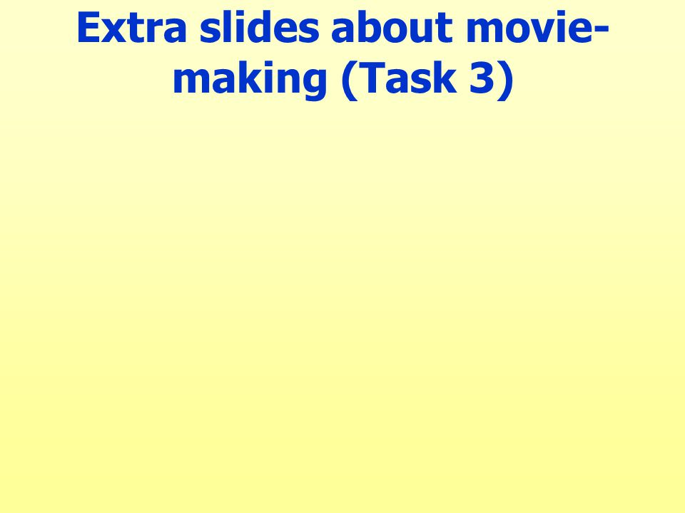 Extra slides about movie- making (Task 3)