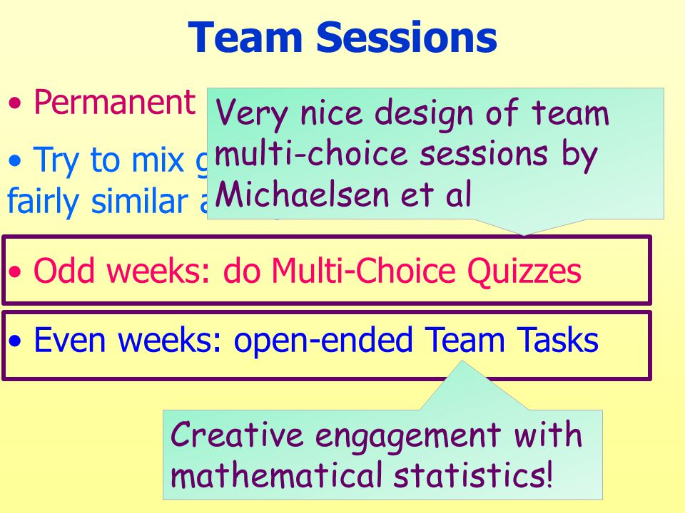 Permanent teams of 5-6 students Try to mix gender & ethnicity, but aim for fairly similar ability Odd weeks: do Multi-Choice Quizzes Even weeks: open-ended Team Tasks Team Sessions Creative engagement with mathematical statistics.