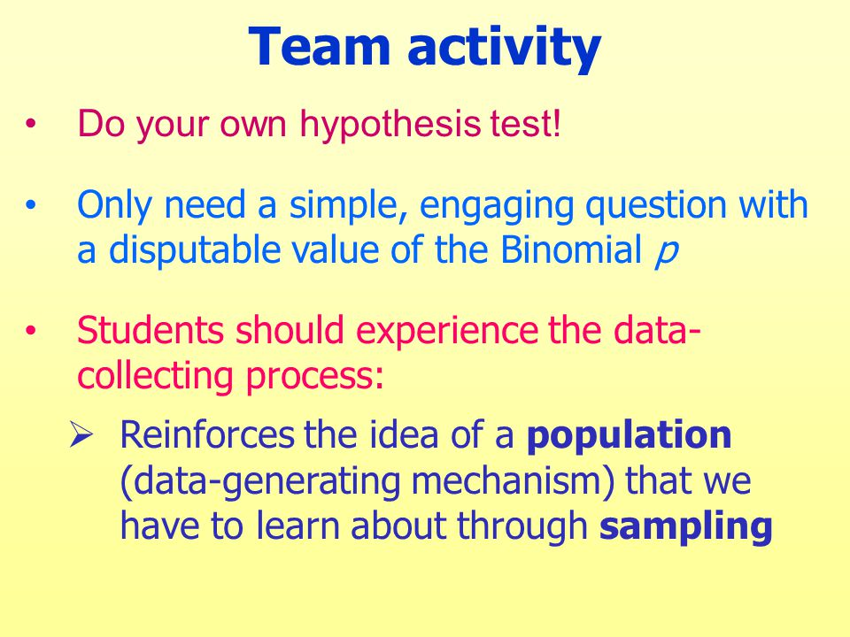 Team activity Do your own hypothesis test.