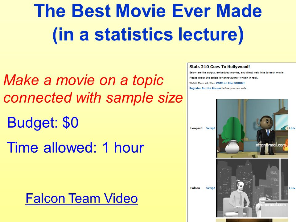 The Best Movie Ever Made (in a statistics lecture ) Make a movie on a topic connected with sample size Budget: $0 Time allowed: 1 hour Falcon Team Vid