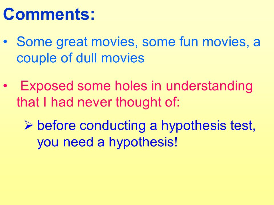 Comments: Some great movies, some fun movies, a couple of dull movies Exposed some holes in understanding that I had never thought of:  before conducting a hypothesis test, you need a hypothesis!