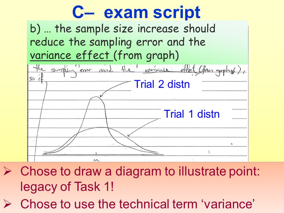 C– exam script b) … the sample size increase should reduce the sampling error and the variance effect (from graph) Trial 2 distn Trial 1 distn  Chose