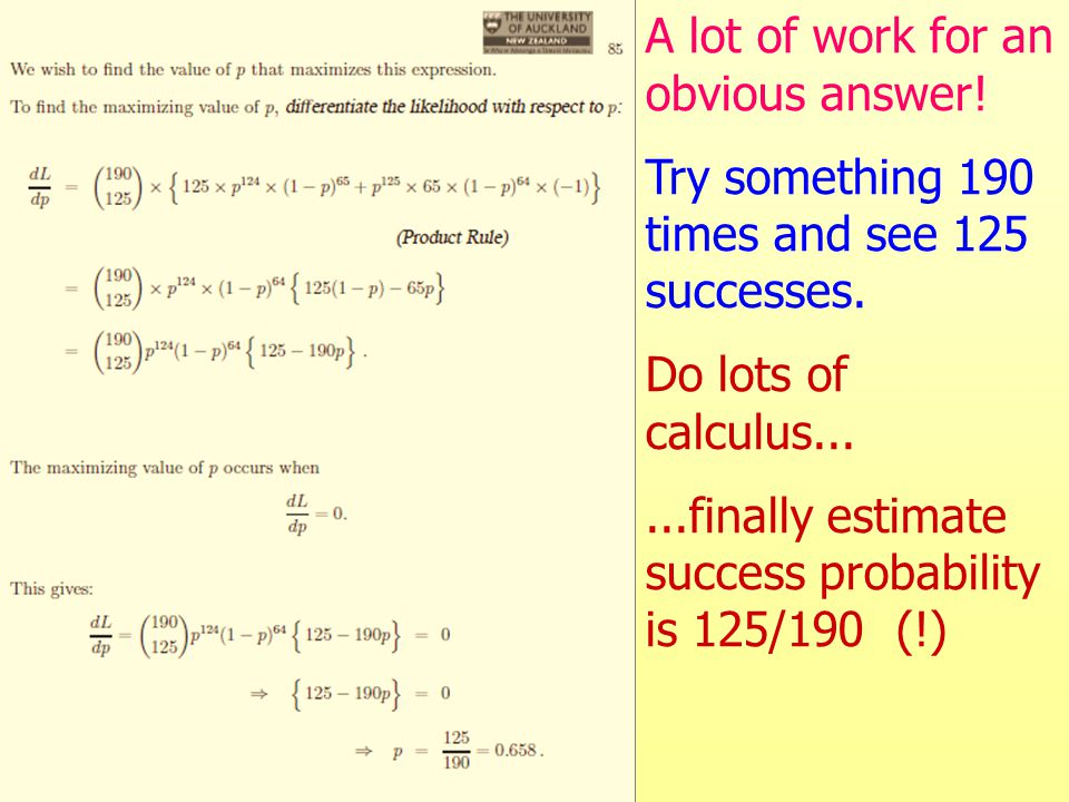 A lot of work for an obvious answer. Try something 190 times and see 125 successes.