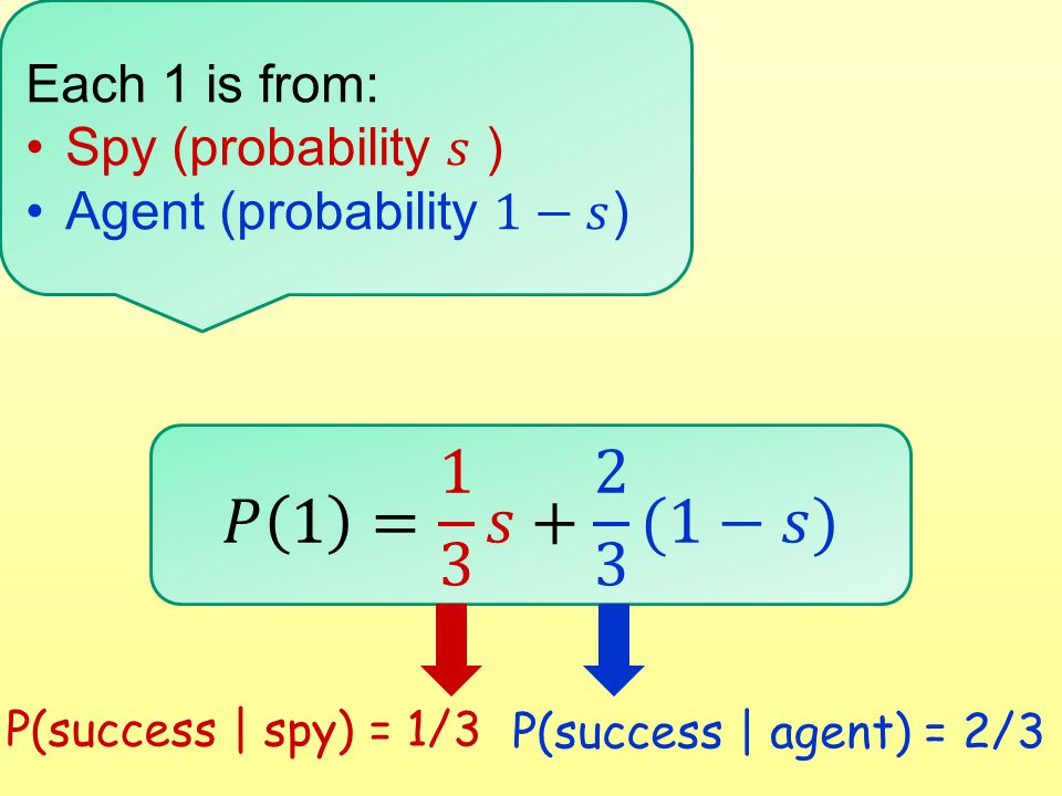 P(success | spy) = 1/3 P(success | agent) = 2/3