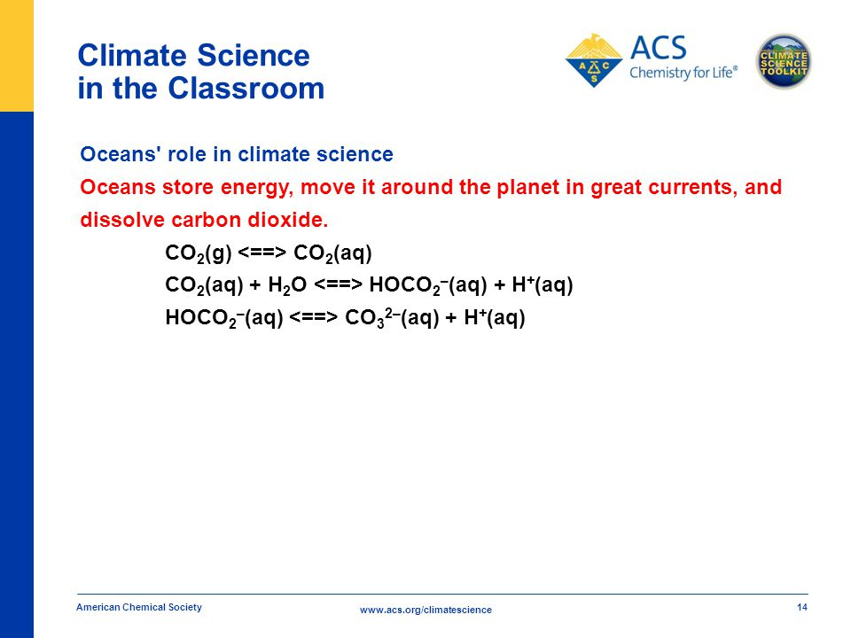 www.acs.org/climatescience Climate Science in the Classroom American Chemical Society 14 Oceans role in climate science Oceans store energy, move it around the planet in great currents, and dissolve carbon dioxide.