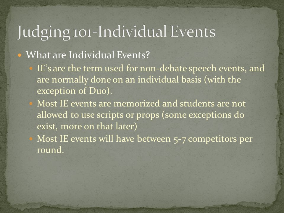 What are Individual Events.