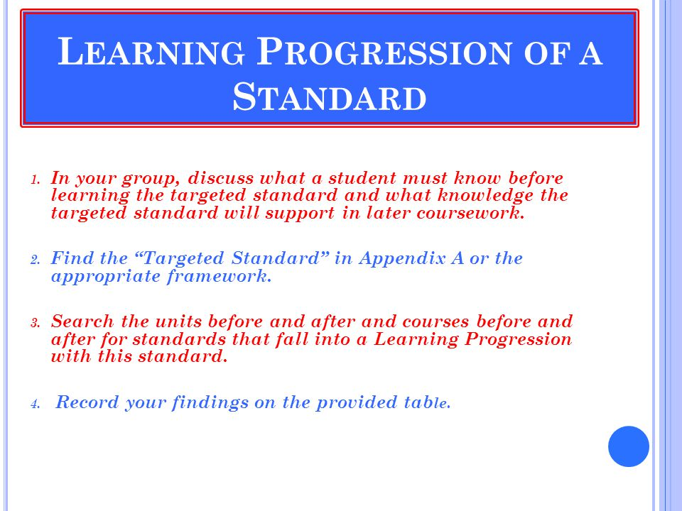 L EARNING P ROGRESSION OF A S TANDARD 1.
