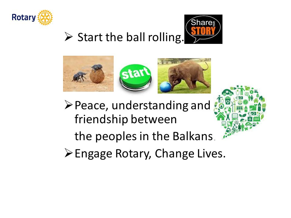  Start the ball rolling. Peace, understanding and friendship between the peoples in the Balkans.