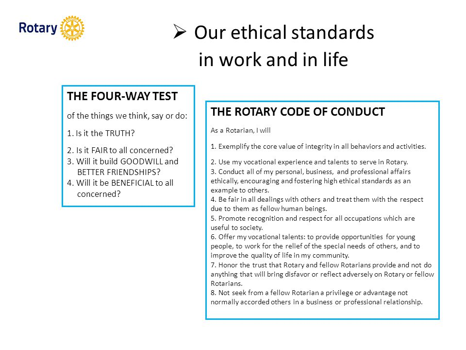  Our ethical standards in work and in life THE FOUR-WAY TEST of the things we think, say or do: 1.