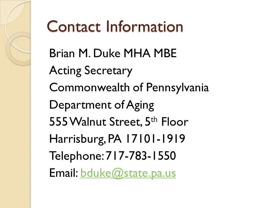 Contact Information Brian M.