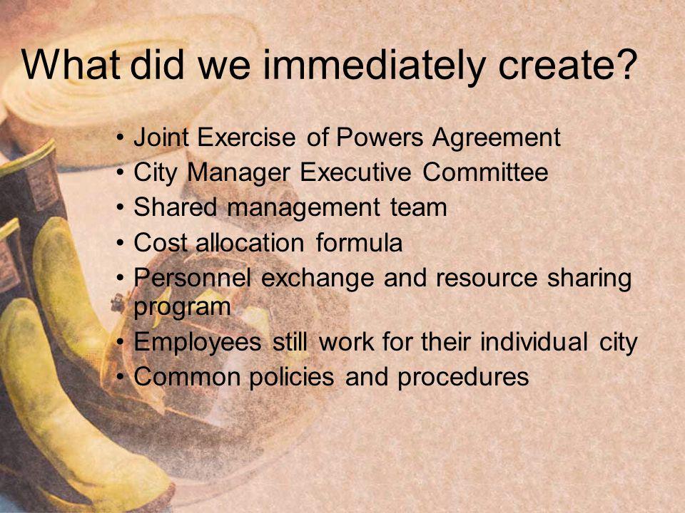 What did we immediately create.