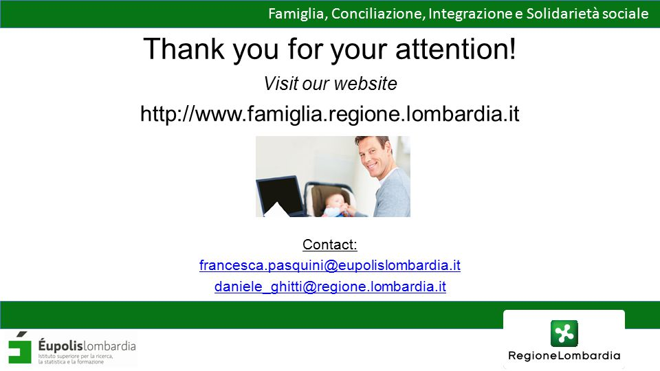 Famiglia, Conciliazione, Integrazione e Solidarietà sociale Thank you for your attention.