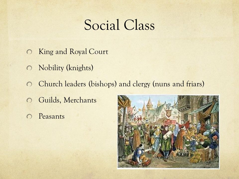 Social Class King and Royal Court Nobility (knights) Church leaders (bishops) and clergy (nuns and friars) Guilds, Merchants Peasants