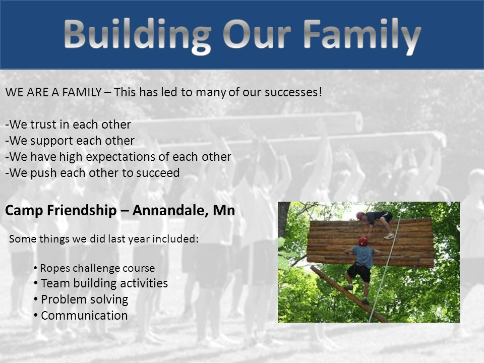 Camp Friendship – Annandale, Mn Some things we did last year included: Ropes challenge course Team building activities Problem solving Communication WE ARE A FAMILY – This has led to many of our successes.