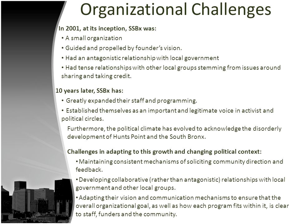 Organizational Challenges In 2001, at its inception, SSBx was: A small organization Guided and propelled by founder's vision. Had an antagonistic rela