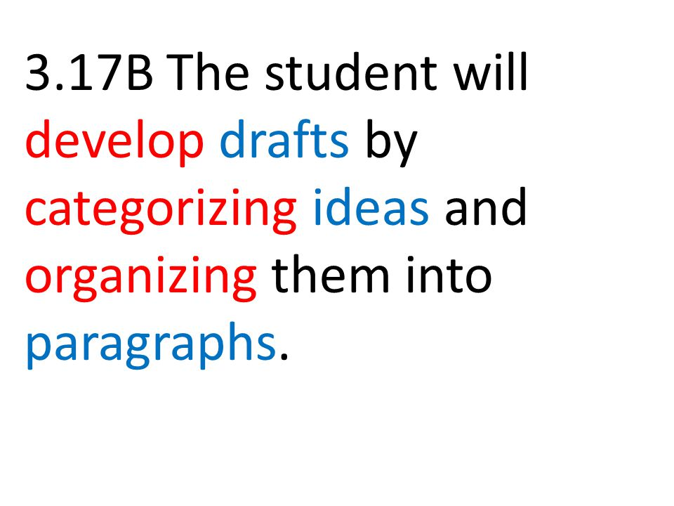3.17B The student will develop drafts by categorizing ideas and organizing them into paragraphs.