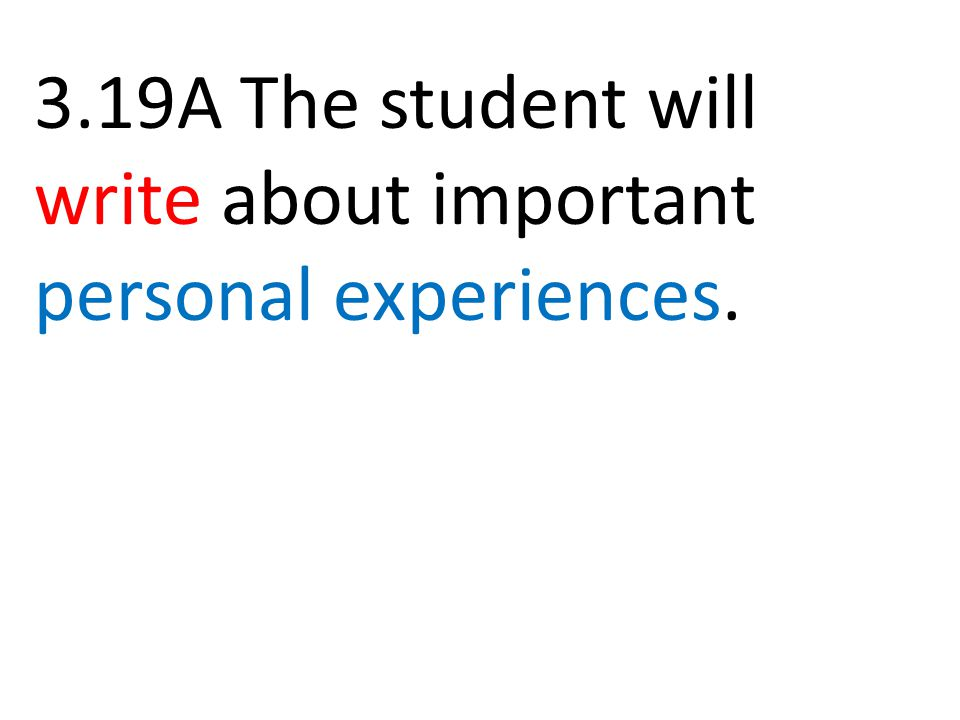 3.19A The student will write about important personal experiences.