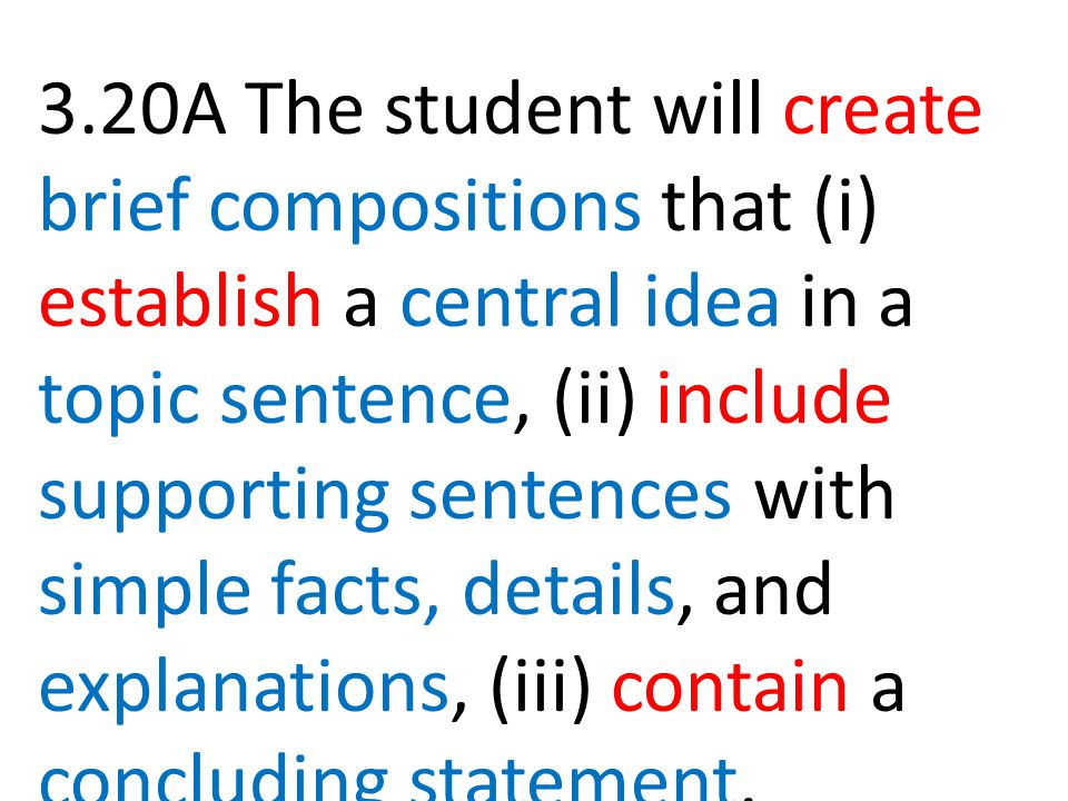 3.20A The student will create brief compositions that (i) establish a central idea in a topic sentence, (ii) include supporting sentences with simple facts, details, and explanations, (iii) contain a concluding statement.