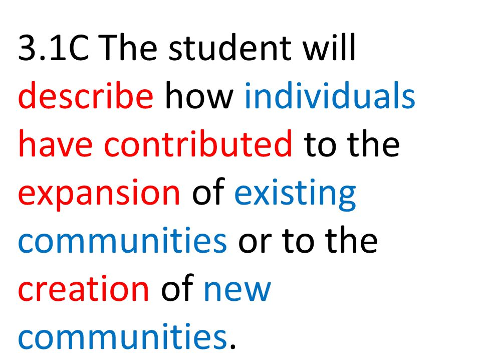 3.1C The student will describe how individuals have contributed to the expansion of existing communities or to the creation of new communities.