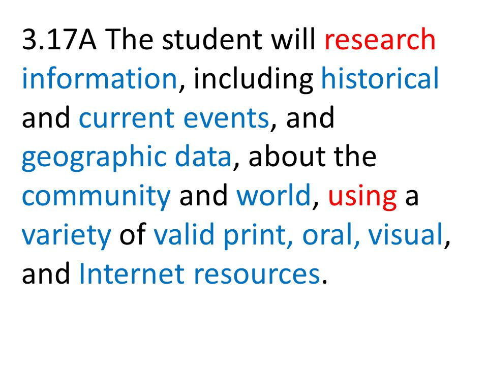 3.17A The student will research information, including historical and current events, and geographic data, about the community and world, using a variety of valid print, oral, visual, and Internet resources.