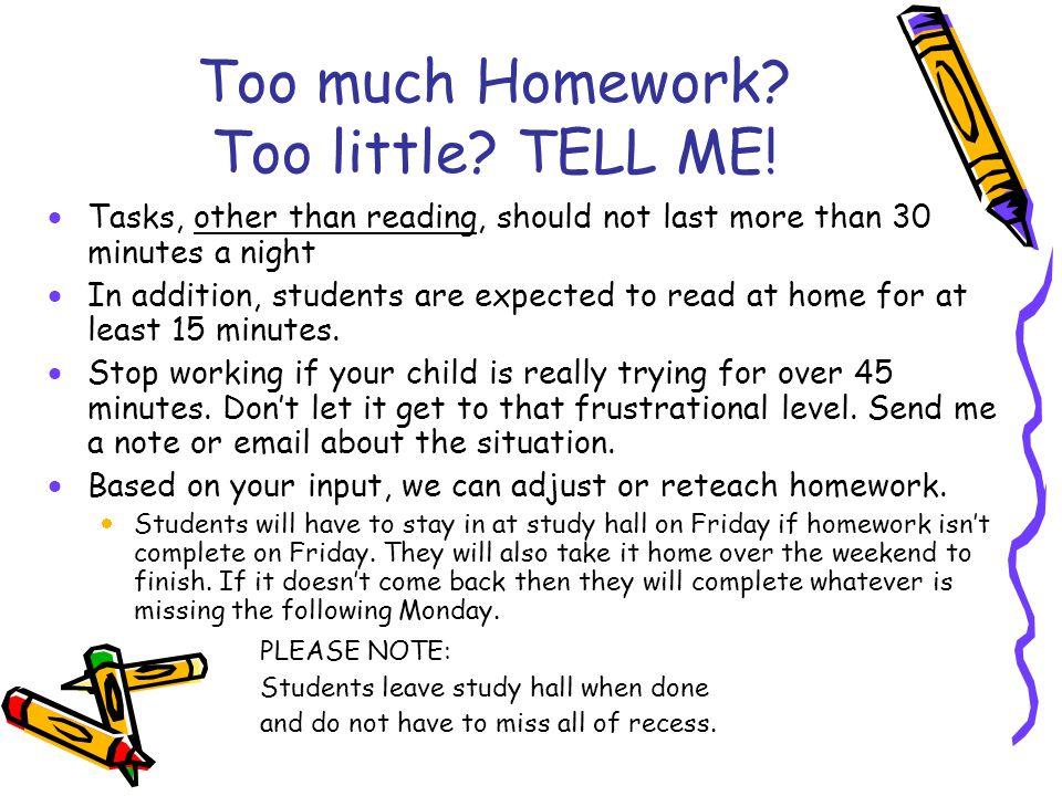 Too much Homework.Too little. TELL ME.