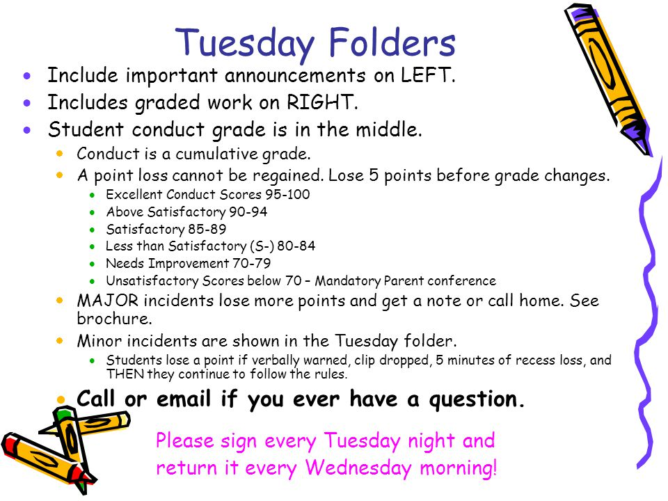 Tuesday Folders  Include important announcements on LEFT.