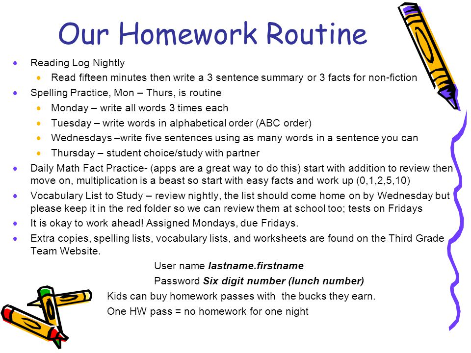 Our Homework Routine  Reading Log Nightly  Read fifteen minutes then write a 3 sentence summary or 3 facts for non-fiction  Spelling Practice, Mon – Thurs, is routine  Monday – write all words 3 times each  Tuesday – write words in alphabetical order (ABC order)  Wednesdays –write five sentences using as many words in a sentence you can  Thursday – student choice/study with partner  Daily Math Fact Practice- (apps are a great way to do this) start with addition to review then move on, multiplication is a beast so start with easy facts and work up (0,1,2,5,10)  Vocabulary List to Study – review nightly, the list should come home on by Wednesday but please keep it in the red folder so we can review them at school too; tests on Fridays  It is okay to work ahead.
