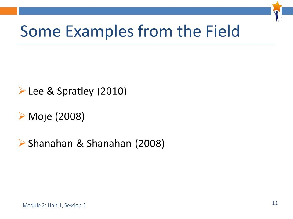 11 Some Examples from the Field  Lee & Spratley (2010)  Moje (2008)  Shanahan & Shanahan (2008) Module 2: Unit 1, Session 2