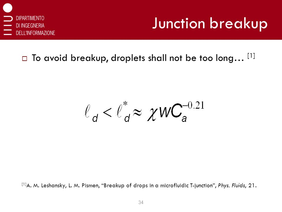 Junction breakup  To avoid breakup, droplets shall not be too long… [1] [1] A.