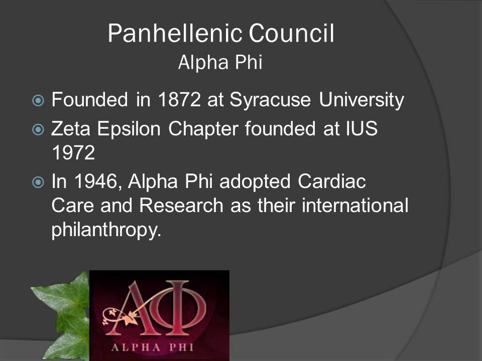 Panhellenic Council  The National Panhellenic Conference provides support and guidance for its 26 member inter/national sororities/women's fraternities and serves as the national voice on contemporary issues of sorority life  The Panhellenic Council at IUS consists of 3 of those 26 groups.