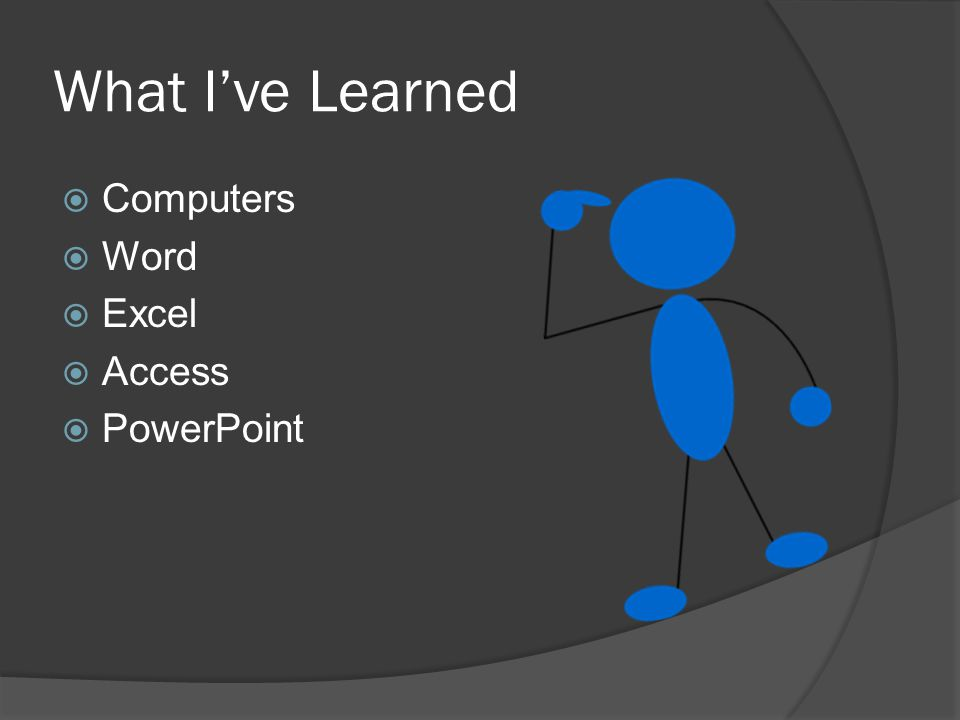 What I've Learned  Computers  Word  Excel  Access  PowerPoint