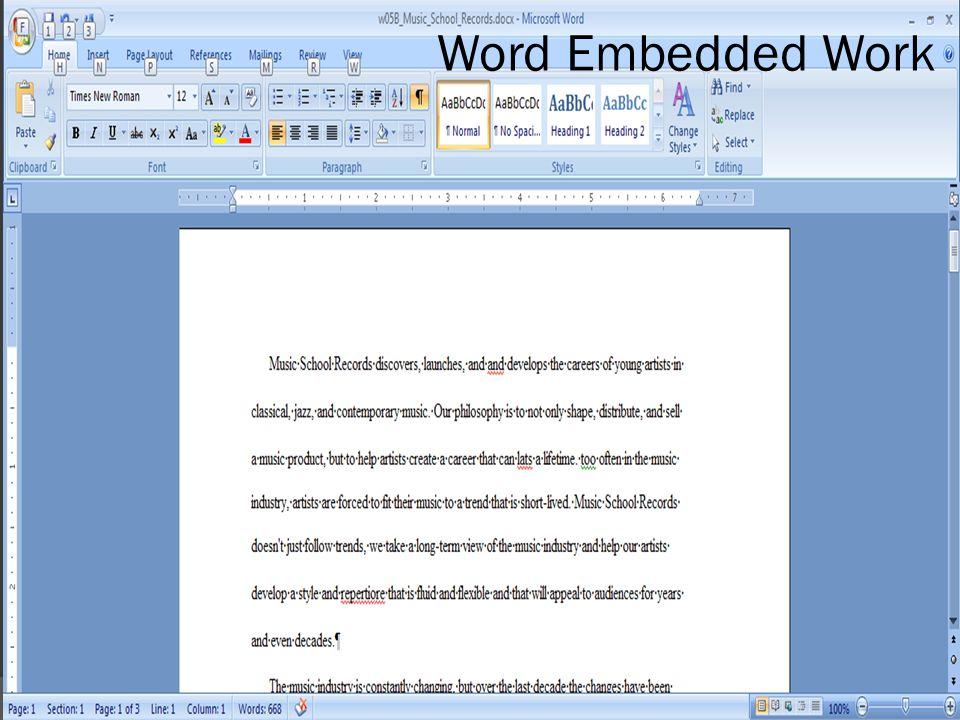 Word Embedded Work
