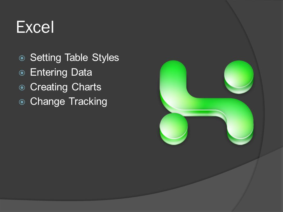 Excel  Setting Table Styles  Entering Data  Creating Charts  Change Tracking