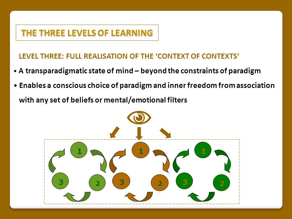 THE THREE LEVELS OF LEARNING THE THREE LEVELS OF LEARNING LEVEL THREE: FULL REALISATION OF THE 'CONTEXT OF CONTEXTS' A transparadigmatic state of mind – beyond the constraints of paradigm Enables a conscious choice of paradigm and inner freedom from association with any set of beliefs or mental/emotional filters 1 2 3 1 2 3 1 2 3 