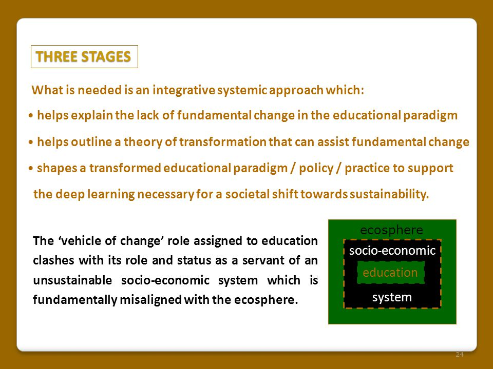 THREE STAGES 24 What is needed is an integrative systemic approach which: helps explain the lack of fundamental change in the educational paradigm helps outline a theory of transformation that can assist fundamental change shapes a transformed educational paradigm / policy / practice to support the deep learning necessary for a societal shift towards sustainability.