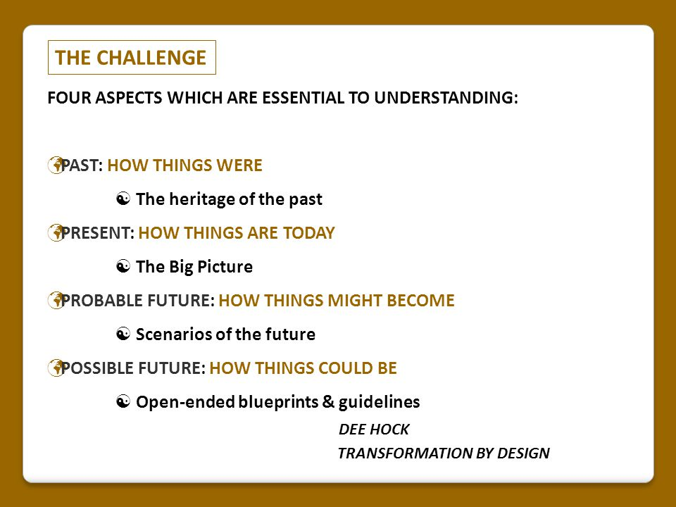 THE CHALLENGE FOUR ASPECTS WHICH ARE ESSENTIAL TO UNDERSTANDING: PAST: HOW THINGS WERE  The heritage of the past PRESENT: HOW THINGS ARE TODAY  The
