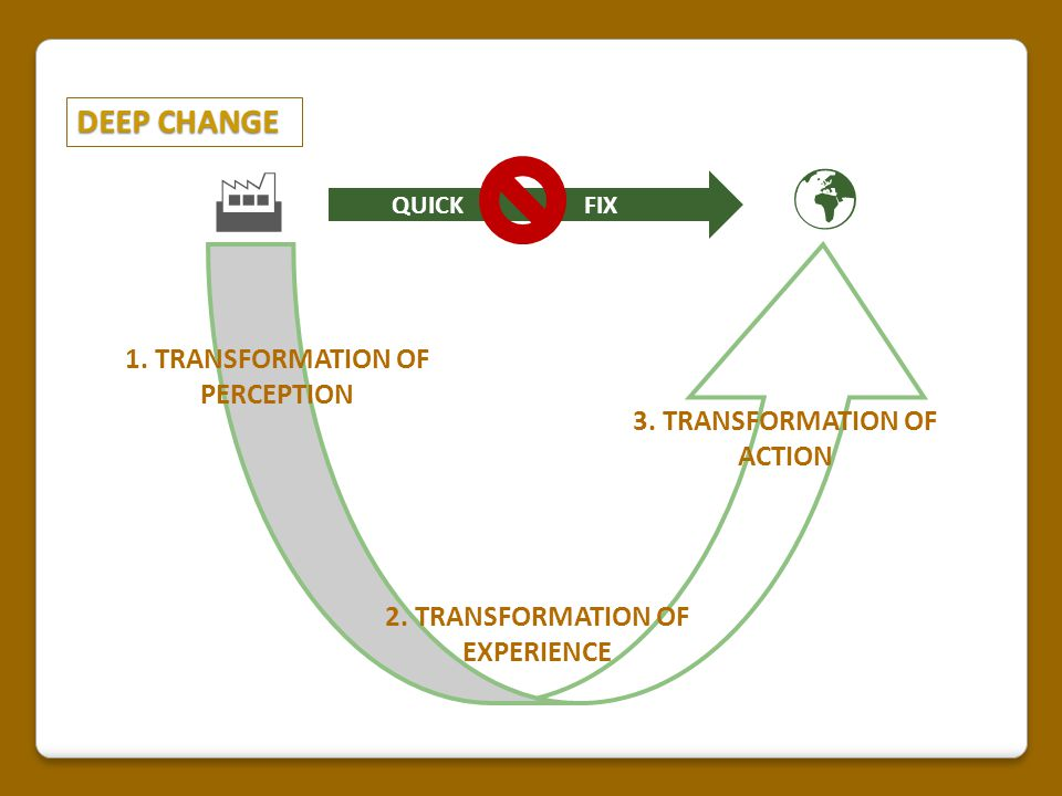 THREE STAGES 27 Transformation: Sustainable education An open interpretation of sustainability, giving rise to a transformative education paradigm.
