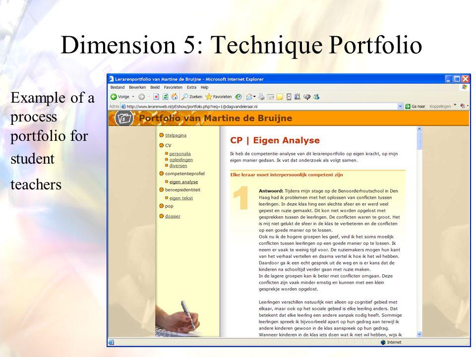 Example of a process portfolio for student teachers Dimension 5: Technique Portfolio